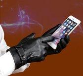AA Commerce Lederen Heren Touchscreen Handschoenen - S/M/L/XL - Zwart