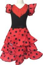Spaanse jurk - Flamenco - Niño - Rood/Zwart - Maat 140/146 (12) - Verkleed jurk