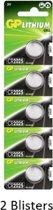 10 stuks (2 blisters a 5 stuks) GP Lithium Cell CR2025 Single-use batterij 3V