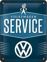 VW Service Metalen wandbord in reliëf 15x20 cm