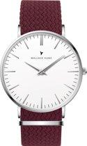 Wallace Hume Klassiek Wit - Horloge - Perlon - Bordeaux Rood