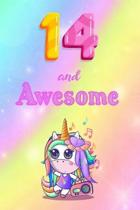 14 And Awesome: Cute Unicorn Notebook For Girls Accessories - Perfect gift for Girls who are 14 years old - 6 x 9'' 120 Love Heart Head