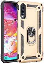 Teleplus Samsung Galaxy A30s Case Vega Ringed Tank Cover Gold + Nano Screen Protector hoesje