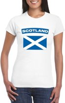 T-shirt met Schotse vlag wit dames L