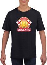 Zwart Engels kampioen t-shirt kinderen - Engeland supporter shirt jongens en meisjes M (134-140)