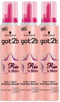 Schwarzkopf Haarmousse Got2b Rise'n Shine 3 x 200 ml Voordeelverpakking