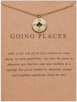 Going Places Ketting - Kompas hanger  aan ketting - Geluksketting - Kompas - Goudkleurig