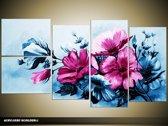 Acryl Schilderij Bloemen   Blauw, Roze   130x70cm 5Luik Handgeschilderd