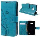 Microsoft Lumia 550 Butterfly Portemonnee Hoes Blauw