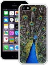 Case Creatives Telefoonhoesje Pauw - iPhone 5 5s SE  Wit - Handgemaakt