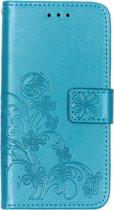 Klavertje Bloemen Booktype voor de Samsung Galaxy A20e - Turquoise