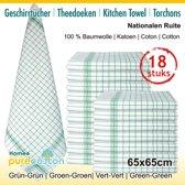 Homéé - Theedoeken groene ruite 100g. | set van 12 Stuks | 65x65cm