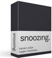 Snoozing - Katoen-satijn - Topper - Hoeslaken - Eenpersoons - 80x220 cm - Antraciet