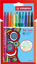 STABILO Trio 2-in-1 Viltstift - 10 stuks in Etui