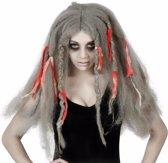 Halloween damespruik grijs lang haar - horror pruik