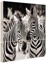 Zebra zwart wit Hout 60x40 cm - Foto print op Hout (Wanddecoratie)