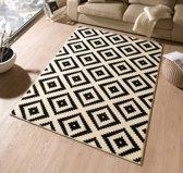 Modern vloerkleed ruiten Diamond - crème/zwart 160x230 cm