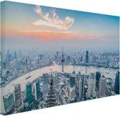 Luchtfoto van Shanghai Canvas 80x60 cm - Foto print op Canvas schilderij (Wanddecoratie woonkamer / slaapkamer) / Steden Canvas Schilderijen