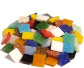 Glas mozaïek steentjes 10 x 10 mm. 11 Mixkleuren ± 300 gram