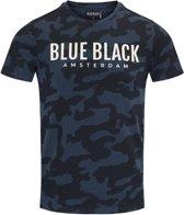 Blue Black Amsterdam Jongens T-shirt Tony - Blauwe Camouflage - Maat 140