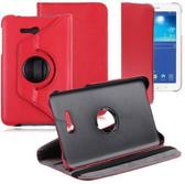 Samsung Galaxy Tab 3 7.0 Lite T110 T111 Hoes Cover 360 graden draaibare Case Beschermhoes rood