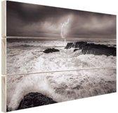 Storm op zee  Hout 80x60 cm - Foto print op Hout (Wanddecoratie)