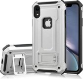 Let op type!! Schokbestendige PC + TPU Armor beschermende case voor iPhone XR  met houder (zilver)