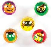 Stuiterballen met glitter voor Halloween (set van 5)