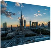Warschau skyline Canvas 60x40 cm - Foto print op Canvas schilderij (Wanddecoratie woonkamer / slaapkamer) / Steden Canvas Schilderij