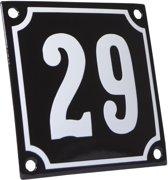 Emaille huisnummer zwart/wit nr. 29 10x10cm