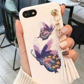 iPhone 7 / iPhone 8 (4.7 Inch) - hoes, cover, case - PC - Geborduurde Bloemen - Beige