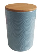 Voorraadpot met houten deksel ELLA - Blauw - Keramiek - Ø11 x H16 cm
