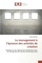 Le Management L preuve Des Activit s de Cr ation