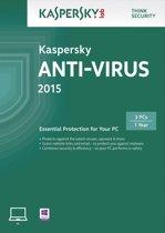 Kaspersky Anti Virus 2015 - Nederlands / Frans / 1 Gebruiker / 3 Apparaten / DVD