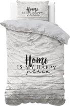 Sleeptime Katoen Home is Happy - Dekbedovertrek - Eenpersoons - 140x200/220 + 1 kussensloop 60x70 - Taupe
