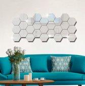 Spiegel Sticker Set - Acryl - Wandspiegel - Woonkamer Decoratie - Zilver - 12 stuks - 8 x 7 x 4 cm