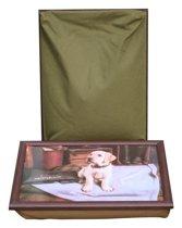 L-line by Jis Laptray, Schootkussen, Schoottafel, Laptoptafel, Dienblad met kussen Blonde Labrador Pup - 43x32 cm
