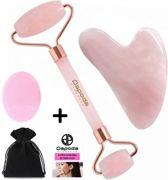 Dapoda Products - Rose Quartz Jade Roller  - met gua sha schraper