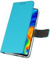 Huawei P30 Lite Wallet Case Hoesje Blauw