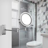 360° Draaibaar Spiegel met LED Verlichting en 3X Vergroting - Scheerspiegel met Natuurlijk Licht en Touch Sensor - Make-Up - Badkamerspiegel - Werkt op Batterijen/ Draadloos