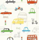 Dutch Wallcoverings Kinderbehang - Papierbehang - Rush Hour - Rood/Groen