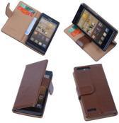 PU Leder Hoesje Huawei Ascend G6 Book/Wallet Case/Cover Bruin