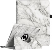 Apple iPad 9.7 (2017 / 2018) Hoes Marmer Wit 360 Graden Draaibaar Book Case Cover Leer - Hoesje van iCall