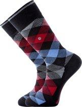 Burlington herensokken wol (Newcastle) - zwart-rood geruit -  Maat 40-46