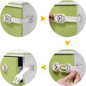Veiligheidsslot  - Kinderslot - Knijpslot - Beveiliging - Kast - WC - Koelkast - Lade - Bear Design - Baby Lock - Effectief, Veilig en Makkelijk - Wit