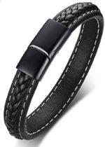 Leren armband zwart