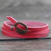 Wikkel Armband Roze Leer Gesp Brons   Armband One Size Fits All