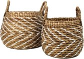 HSM Collection Mandenset - naturel/wit - waterhycinth - set van 2