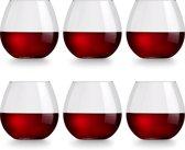 Libbey Wijnglas Cami Rood - 6 stuks - vaatwasser veilig - geen voetje - zonder steel - modern trendy - 590 ml