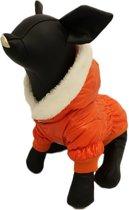 Winterjas glimmend voor de hond in de kleur oranje met bont randje - XL ( rug lengte 32 cm, borst omvang 40 cm, nek omvang 34 cm )